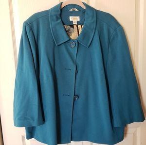 NWOT teal swing coat